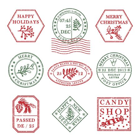 Set of vintage textured grange christmas stamp rubber with holiday symbols in red, green and blue colors. For xmas greeting card, invitations, web banner, sale flyers retro design. Vector illustration Ilustração