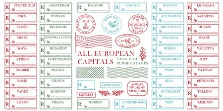 Set of vintage textured grange christmas stamp rubber with holiday symbols in red, green and blue colors All European capitals For xmas greeting card, invitations, web banner retro design Vector Ilustração