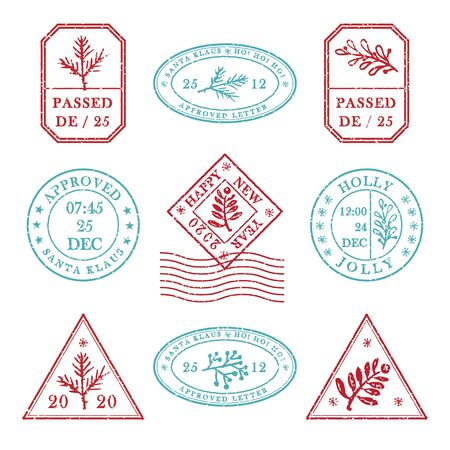 Set of vintage textured grange christmas stamp rubber with holiday symbols in red, green and blue colors. For xmas greeting card, invitations, web banner, sale flyers retro design. Vector illustration