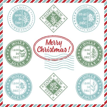 Set of vintage textured grunge christmas stamp rubber with holiday symbols and lettering in xmas colors. For greeting card, invitations, web banner, sale flyers retro design. Vector illustration