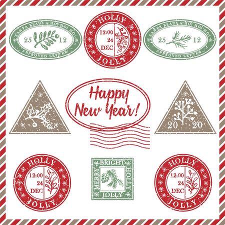 Conjunto de goma de sello de Navidad grunge con textura vintage con símbolos de vacaciones y letras Feliz año nuevo en colores de Navidad. Para tarjetas de felicitación, invitaciones, banner web, folletos de venta. Ilustración vectorial