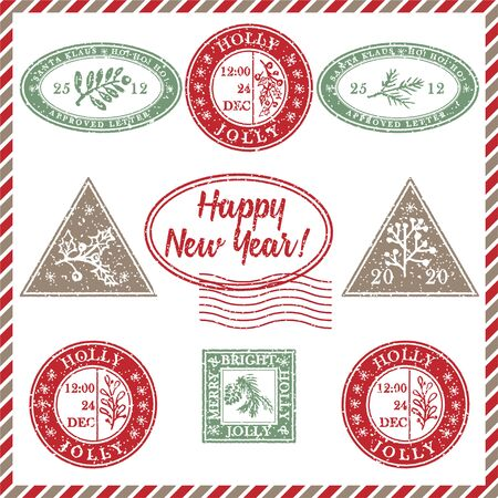 Zestaw starodawny grunge teksturowanej gumy pieczęć świąteczna z symbolami wakacje i napisem szczęśliwego nowego roku w kolorach xmas. Na kartkę z życzeniami, zaproszenia, banery internetowe, ulotki sprzedażowe. Ilustracja wektorowa