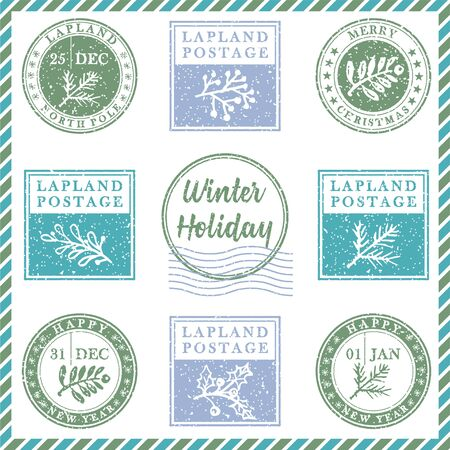 Set of vintage textured grunge christmas stamp rubber with holiday symbols and lettering Winter Holiday in xmas colors. For greeting card, invitations, web banner, sale flyers. Vector illustration Ilustração