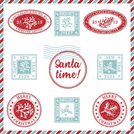 Set of vintage textured grunge christmas stamp rubber with holiday symbols and lettering Santa time in xmas colors. For greeting card, invitations, web banner, sale flyers. Vector illustration