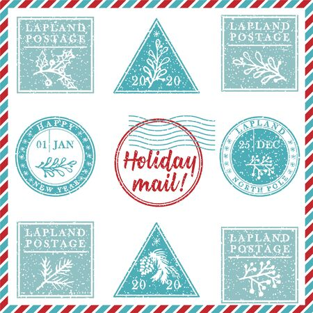 Set of vintage textured grunge christmas stamp rubber with holiday symbols and lettering Holiday mail in xmas colors. For greeting card, invitations, web banner, sale flyers. Vector illustration