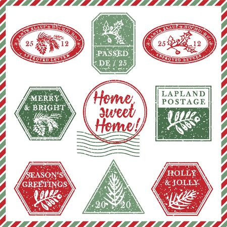 Set of vintage textured grunge christmas stamp rubber with holiday symbols and lettering Home, sweet Home in xmas colors. For greeting card, invitations, web banner, sale flyers. Vector illustration