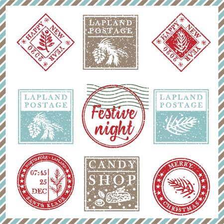 Set of vintage textured grunge christmas stamp rubber with holiday symbols and lettering Festive night in xmas colors. For greeting card, invitations, web banner, sale flyers. Vector illustration