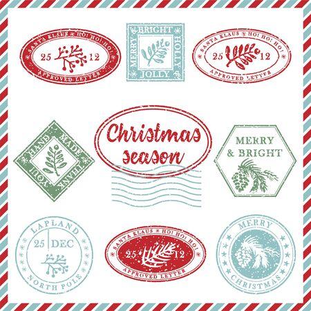 Conjunto de goma de sello de Navidad grunge con textura vintage con símbolos de vacaciones y letras en colores de Navidad. Para tarjetas de felicitación, invitaciones, banner web, folletos de venta. Ilustración vectorial