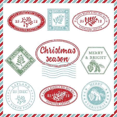 Set of vintage textured grunge christmas stamp rubber with holiday symbols and lettering in xmas colors. For greeting card, invitations, web banner, sale flyers. Vector illustration
