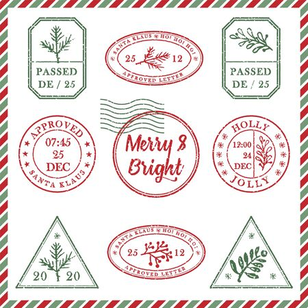 Set of vintage textured grunge christmas stamp rubber with holiday symbols and lettering Merry and Bright in xmas colors. For greeting card, invitations, web banner, sale flyers. Vector illustration