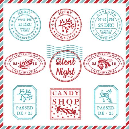 Set of vintage textured grunge christmas stamp rubber with holiday symbols and lettering Silent Night in xmas colors. For greeting card, invitations, web banner, sale flyers. Vector illustration