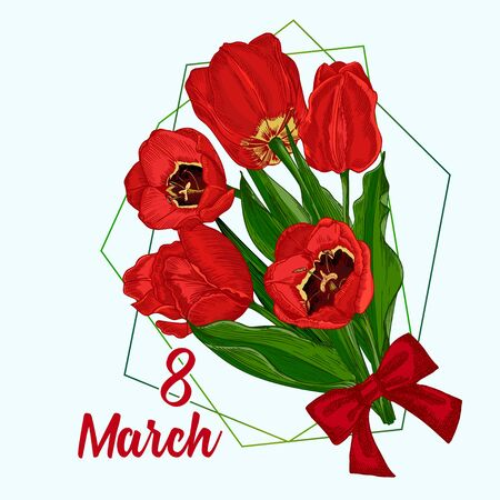 Greeting card with Spring flower bouquet of tulips in red and green colors on white background Engraving drawing style Realistic botanical nature sketch pattern. Women, mother days design, 8 march Ilustración de vector