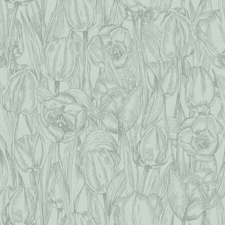 Greeting seamless with Spring flower tulips bouquet in gray green colors on blue background. Engraving drawing Vintage style Realistic botanical nature sketch. Women, mother days, 8 march design