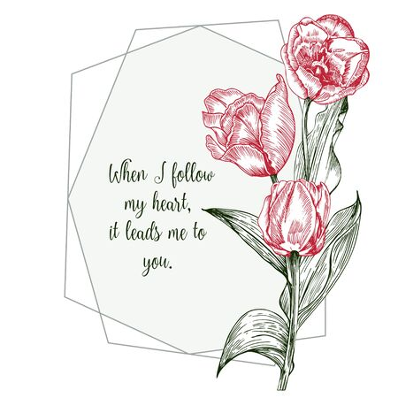 Greeting card with Spring flower bouquet of tulips in red and green colors on white background Vintage style Realistic botanical sketch pattern. Women, mother days design, 8 march Short Love Quotes