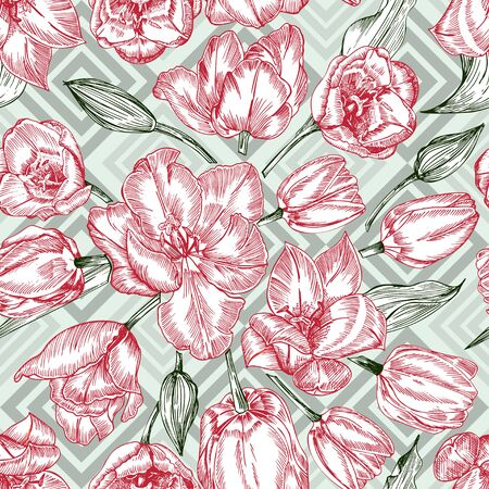 Greeting seamless with Spring flower tulips bouquet in red and green colors on blue background. Engraving drawing Vintage style Realistic botanical nature sketch. Women, mother days, 8 march design