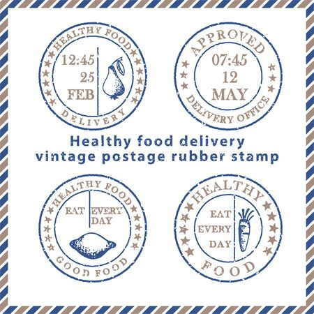 Set of vintage textured grunge food delivery rubber stamps with meal symbols in classic blue and brown colors. For design of post card, advertising poster, web banner, sale flyers Vector illustration