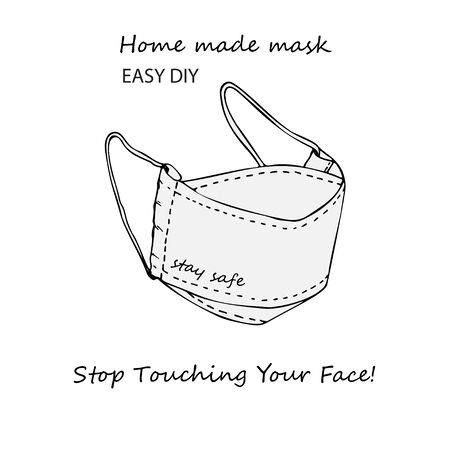 Design concept of Medical information poster with text Stop touching your face Home made face pollution textile mask. Hand drawn line icon. Minimalistic style. Vector Illustrations.