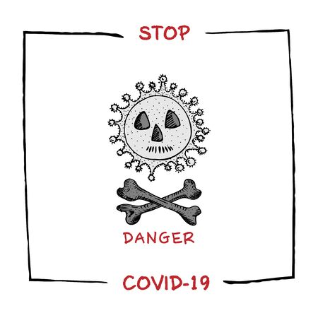 Design concept of Medical, social, economic and financial information agitational poster against coronavirus epidemic with text Stop Covid-19 Sketch style Vector Illustrations