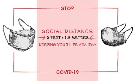 Design concept of Medical, social, economic and financial information agitational poster against coronavirus epidemic with text Stop Covid-19 Social distance Keeping your life healthy Sketch Vector Vector Illustration