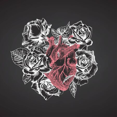 Heart with bouquet roses on chalkboard Realistic hand-drawn icon of human internal organ and flower frame. Sketch Engraving style Medical post-viral rehabilitation design concept. Tattoos art. Vector 向量圖像