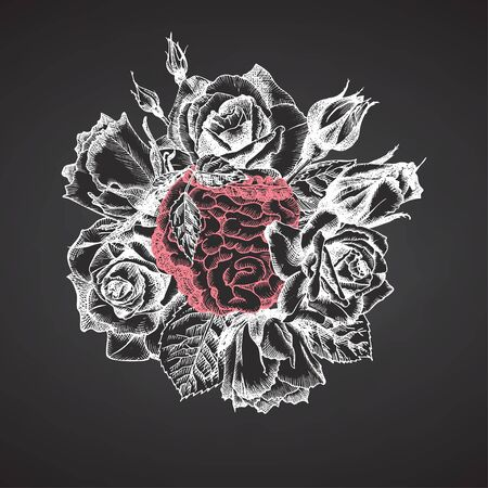 Intestines with bouquet roses on chalkboard Realistic hand-drawn icon of human internal organ and flower frame. Engraving style Medical post-viral rehabilitation design concept. Tattoos art Vector