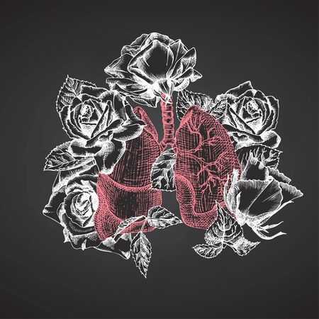 Lungs with bouquet roses on chalkboard Realistic hand-drawn icon of human internal organ and flower frame. Sketch Engraving style Medical post-viral rehabilitation design concept. Tattoos art. Vector