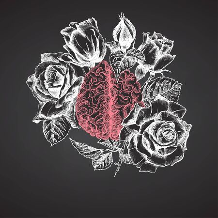 Brain with bouquet roses on chalkboard Realistic hand-drawn icon of human internal organ and flower frame. Sketch Engraving style Medical post-viral rehabilitation design concept. Tattoos art. Vector Illustration