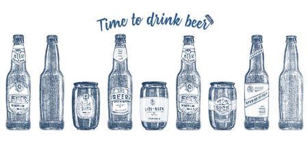 Set hand drawn sketch glasses bottle and can beer on white background. Vintage Vector design bar, restaurant, cafe menu Graphic engraving art for flyer, banner, poster Time to alcohol drinks Standard-Bild