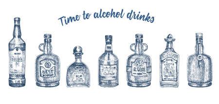 Set hand drawn sketch glasses bottle alcoholic drinks on white background Vintage vector design for bar, restaurant, cafe menu Engraving art style for flyer, banner, poster Time to rum, whiskey, vodka Illustration