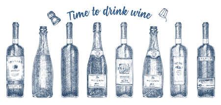 Set hand drawn sketch glasses bottle red wine, champagne on white background. Vintage vector design for bar, restaurant, cafe menu Engraving art for flyer, banner, poster Time to alcohol drinks 矢量图像