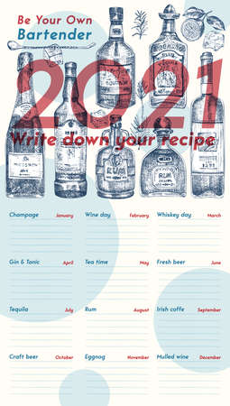2021 Cover Page of wall vintage calendar planner. Alcohol bar theme. Champagne, wine, tequila, gin, tonic, rum cocktails Retro poster Place to write recipe Sketch engraving style vector illustration