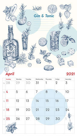 2021 Page of wall vintage calendar planner. April month. Week starts on Sunday. Alcohol bar theme. Gin tonic day cocktails Retro poster Place to write recipe Sketch engraving style vector illustration