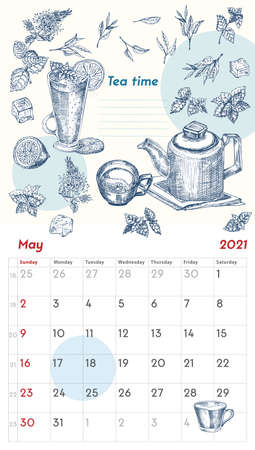 2021 Page of wall vintage calendar planner. May month. Week starts on Sunday. Alcohol bar theme. Tea time cocktails Retro poster Place to write recipe Sketch engraving style vector illustration