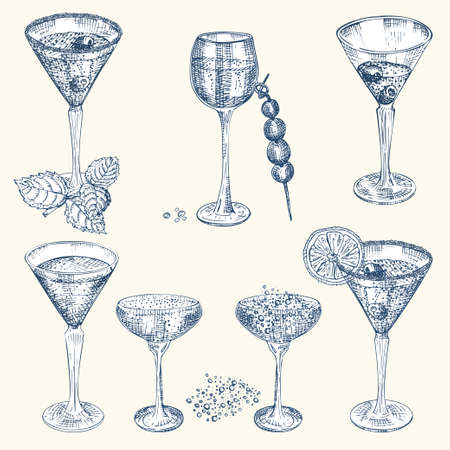 Set hand drawn sketch glasses for alcoholic drink Champagne Vintage design bar, restaurant, cafe menu on white background Engraving style Graphic vector Creative template for flyer, banner, poster