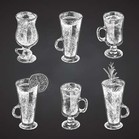 Set hand drawn sketch glasses for christmas alcoholic drinkMulled wine Vintage design bar, restaurant, cafe menu Chalkboard background. Creative template for flyer, poster Engraving style vector art