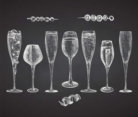 Set hand drawn sketch glasses for alcoholic drink Champagne Vintage design bar, restaurant, cafe menu Chalkboard background Engraving style Graphic vector Creative template for flyer, banner, poster 矢量图像