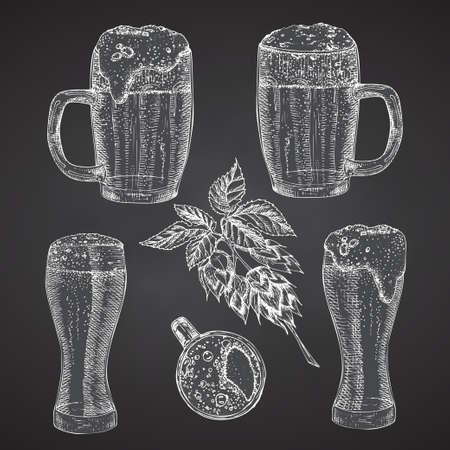 Set hand drawn sketch glasses for alcoholic drink Beer. Vintage design bar, restaurant, cafe menu Chalkboard background. Creative template for flyer, banner, poster Engraving style Graphic vector art 矢量图像
