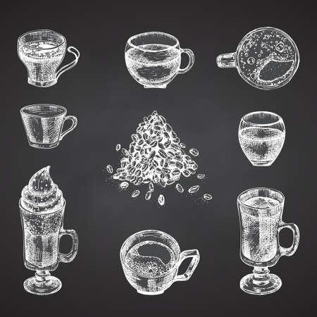 Set hand drawn sketch bottle and glasses for coffee drinks Vintage design bar, restaurant, cafe menu Chalkboard background. Creative template for flyer, banner, poster Engraving style vector art