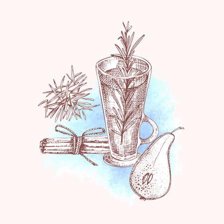 Alcoholic cocktail drink Hand drawn sketch art on watercolor background Vodka, whiskey, wine Vintage design for bar, restaurant, cafe menu, flyer, banner, poster Engraving style vector illustration