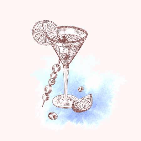 Alcoholic cocktail drink Hand drawn sketch art on watercolor background Champagne, bubbly, fizz Vintage design for bar, restaurant, cafe menu, flyer, banner, poster Engraving style vector illustration