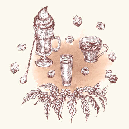 Alcoholic cocktail drink Hand drawn sketch art, watercolor background Irish coffee, eggnog Christmas bar Vintage design for restaurant, cafe menu, flyer, banner Engraving style vector illustrations