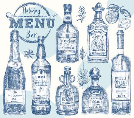 Set bottles Whiskey, rum, champangne, wine, tequila Vintage hand drawn sketch design bar, restaurant, cafe menu Realistic engraving style Creative template flyer, banner, poster Graphic vector art