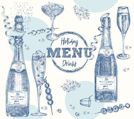 Set bottles Champagne, wine, wine glass, cocktail Vintage hand drawn sketch design bar, restaurant, cafe menu Realistic engraving style Creative template for flyer, banner, poster Graphic vector art 矢量图像