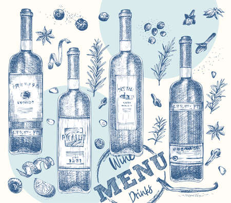 Set bottles red or white wine and christmas spices Vintage hand drawn sketch design bar, restaurant, cafe menu Realistic engraving style Creative template flyer, banner, poster Graphic vector art 矢量图像