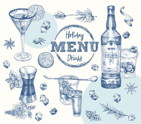 Set bottles Whiskey, vodka, cocktail, rosemary, mint citrus, ice, sugar Vintage hand drawn sketch design bar, restaurant, cafe menu, flyer, banner, poster Realistic engraving style Graphic vector art