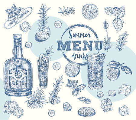 Set bottles Gin, rosemary, citrus, mint, cucumber Vintage hand drawn sketch design bar, restaurant, cafe menu Realistic engraving style Creative template for flyer, banner, poster Graphic vector art