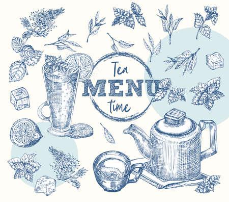 Tea time. Cup, Mug, teapot, mint, lemon, ice Vintage hand drawn sketch design bar, restaurant, cafe menu Realistic engraving style Creative template for flyer, banner, poster Graphic vector art