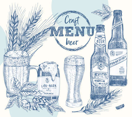 Set bottles craft, organic beer, beer can, wheat ear, hop. Vintage hand drawn sketch design bar, restaurant, cafe menu Realistic engraving style Creative template for flyer, poster Graphic vector art