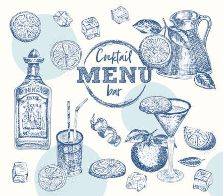 Set bottle tequila, cocktail glasses, orange, ice, citrus Vintage hand drawn sketch design bar, restaurant, cafe menu Realistic engraving style Template for flyer, banner, poster Graphic vector art