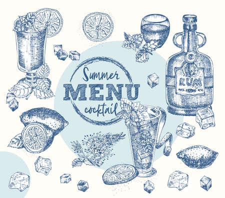 Set bottles Rum, glasses, bourbon, mint, lime, limon, ice Vintage hand drawn sketch design bar, restaurant, cafe menu Realistic engraving style Template for flyer, banner, poster Graphic vector art 矢量图像
